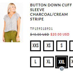 BUTTON DOWN CUFF SLEEVE CHARCOAL/CREAM STRIPE